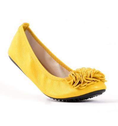 Ballerines jaunes femme à fleur MONCEAU