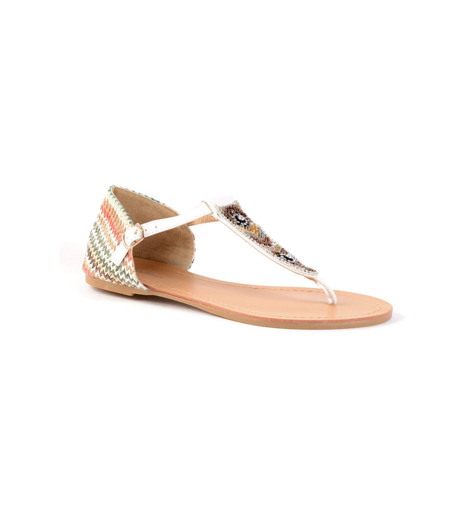 sandale pour femmes texture raphia simili cuir blanches. Black Bedroom Furniture Sets. Home Design Ideas