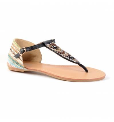 Sandales femme raphia noires à strass FABIOLA
