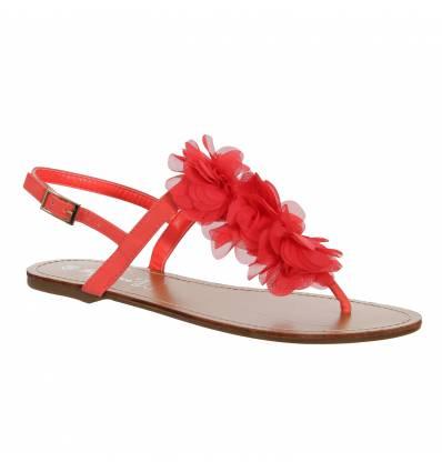 Sandales femme simili cuir à fleur corail Malaga