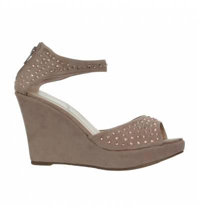 Sandales compensées à strass kaki Barletta