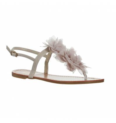 Sandales plates à fleur beige clair MALAGA