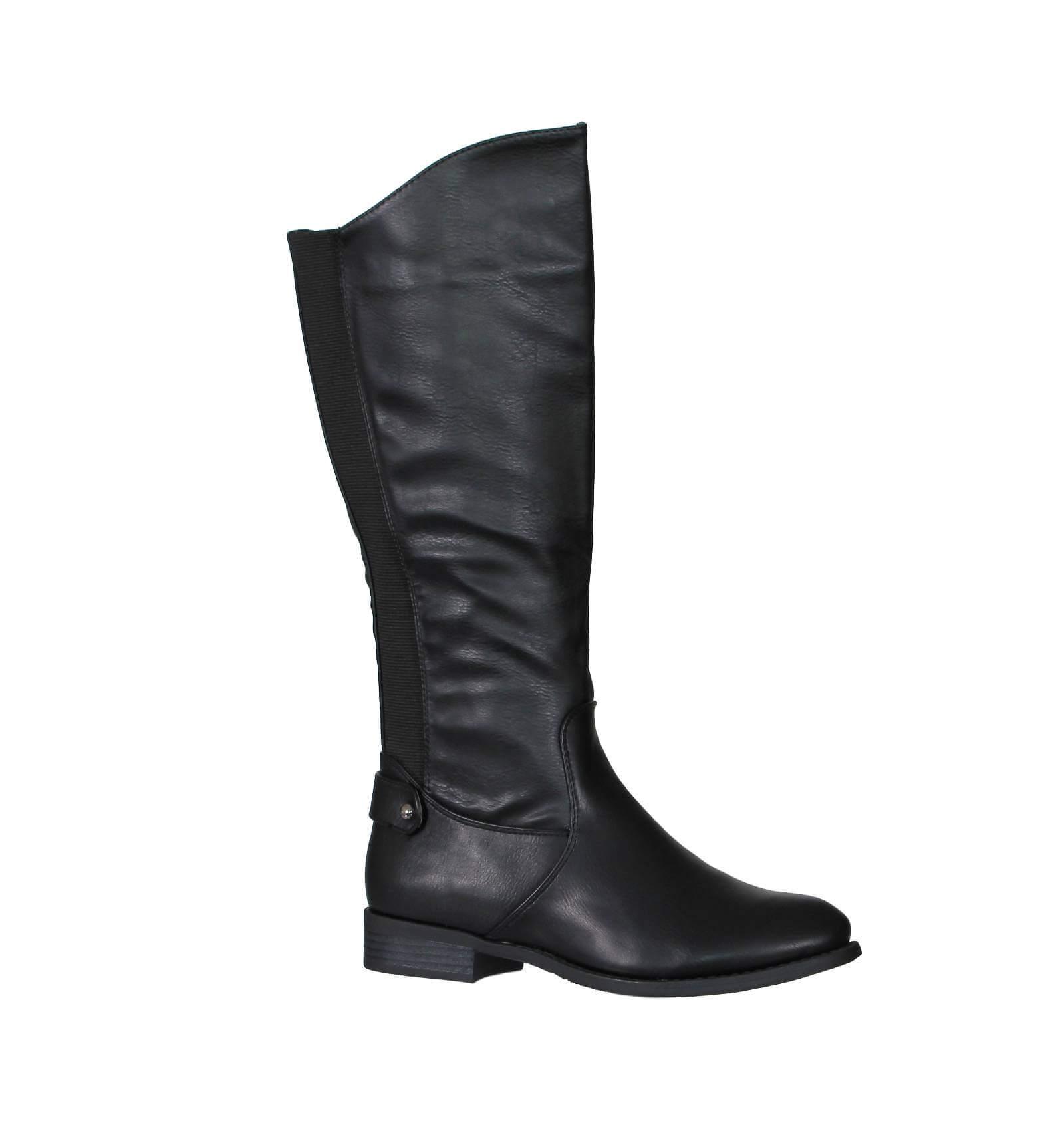 bottes femme cavali re simili cuir lastiqu e noir avec. Black Bedroom Furniture Sets. Home Design Ideas