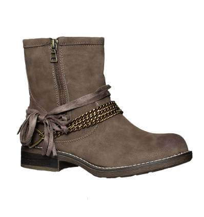 Bottines femme taupe simili cuir BROOKLYN
