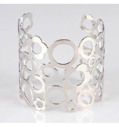 Bracelet femme métal perforé argenté PATRICIA