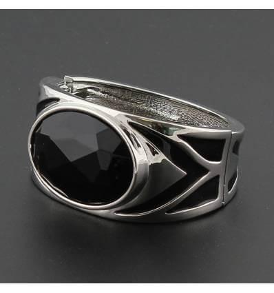 Bracelet femme métal à perle noire CARLY