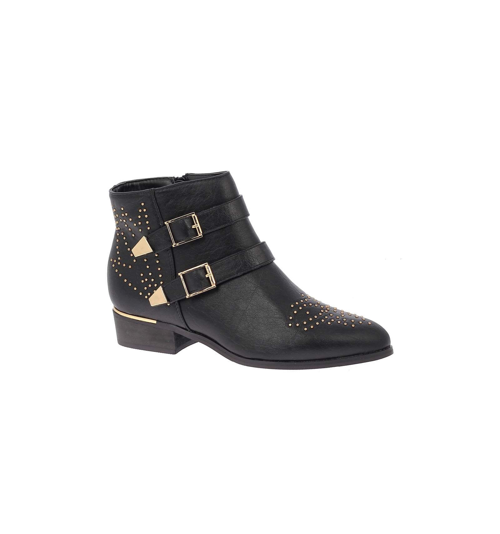 chaussures bottines femmes simili cuir noir rivets et brides avec boucles et clous dor s bea. Black Bedroom Furniture Sets. Home Design Ideas
