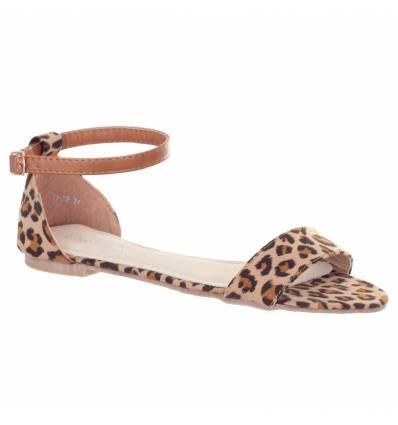 Sandales femme aspect daim léopard Solène