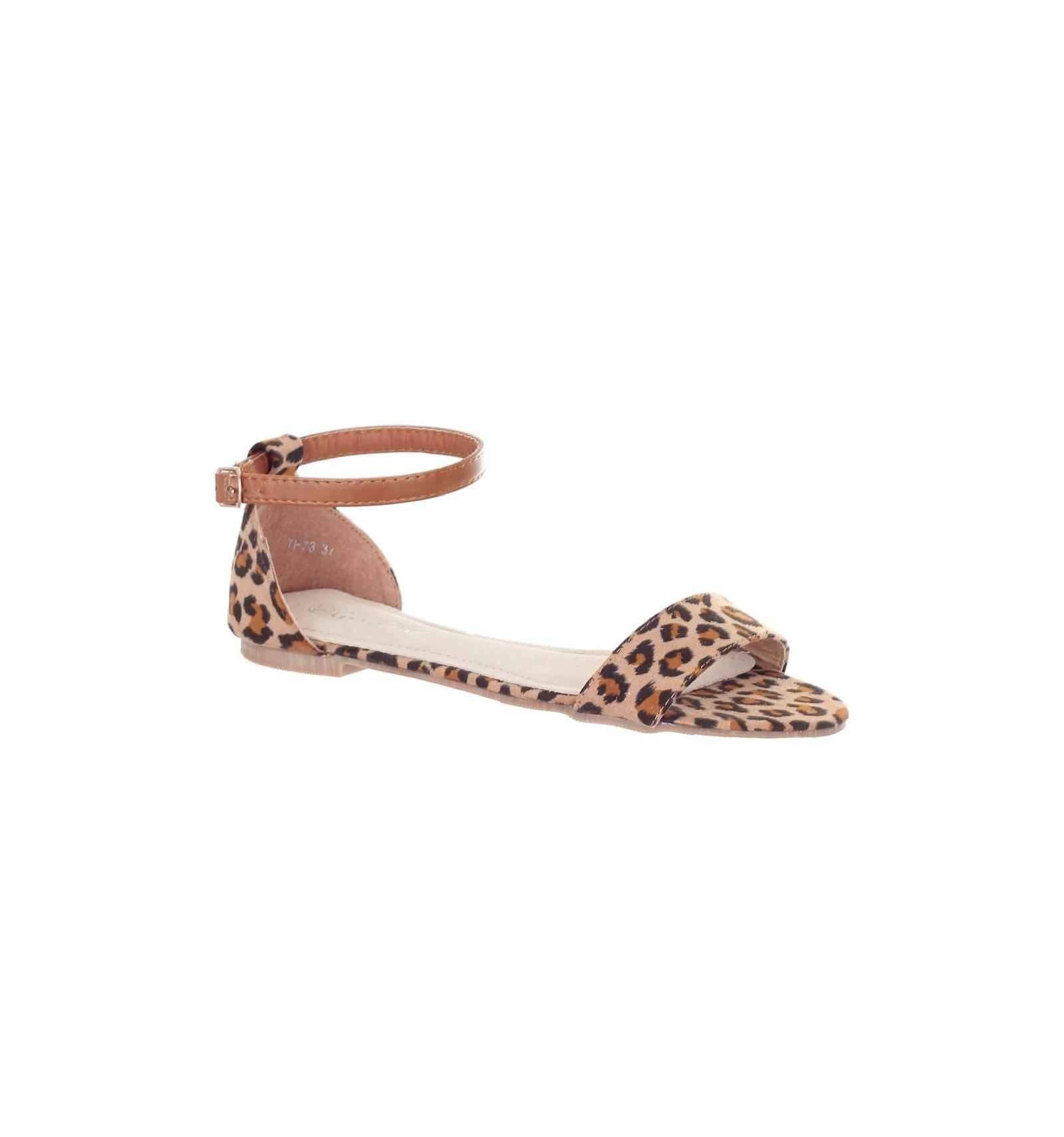 26aefb4f1278c Sandales femme aspect daim léopard Solène
