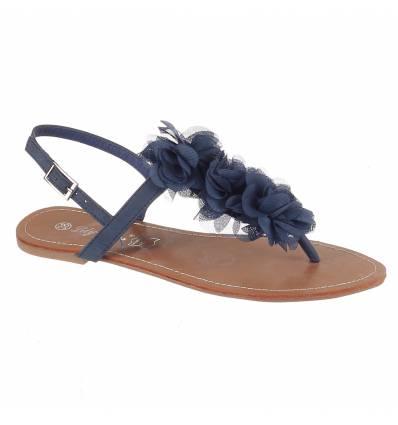 Sandales femme plates à fleur bleu MALAGA