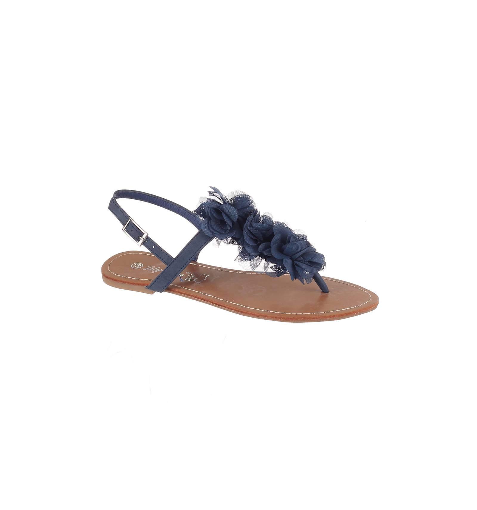 47b033e2566 Sandale femme simili cuir plate à fleur corail MALAGA. Elegance et ...