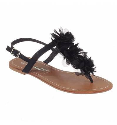 Sandales plates à fleur noir MALAGA