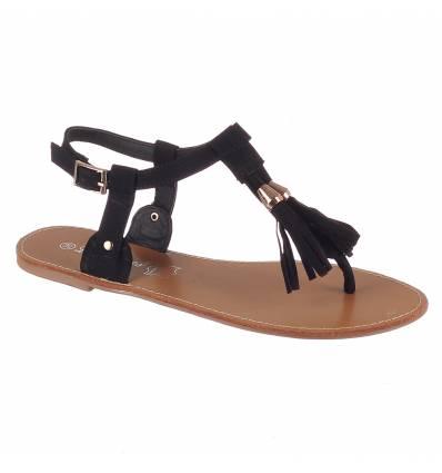 Sandales sandales confort plates à franges noires PRETTY