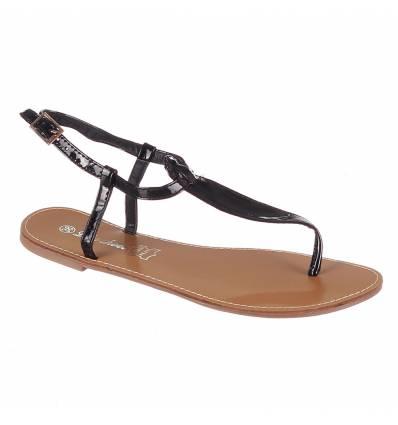 Sandales femme plates noires vernies IBIZA