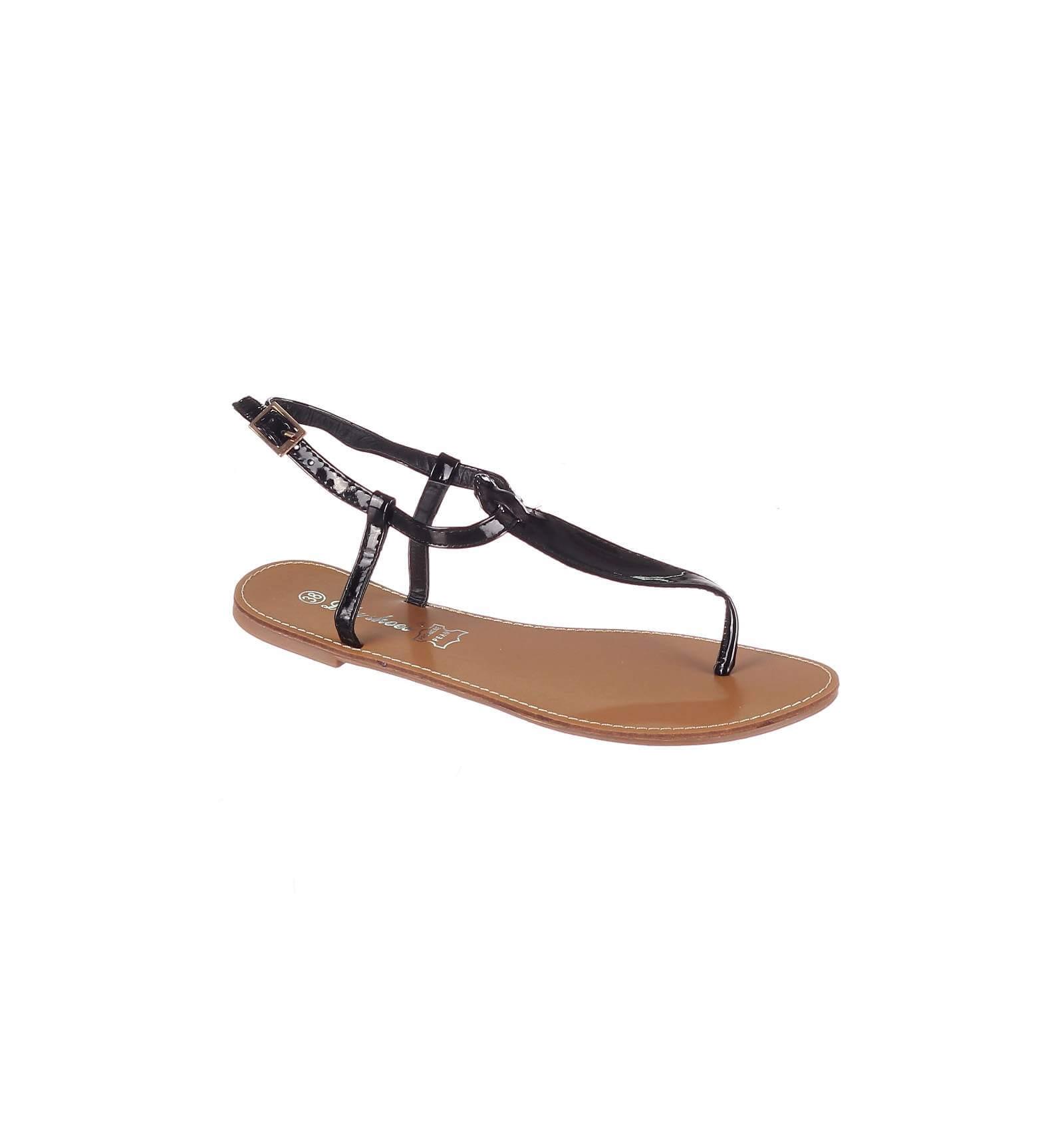 nouveau produit 06522 e7154 Sandales femme plates noires vernies IBIZA