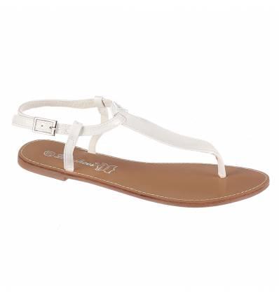 Sandales femme plates blanc verni IBIZA