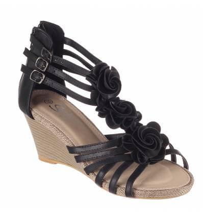 Sandales femme compensées noir AUDREY