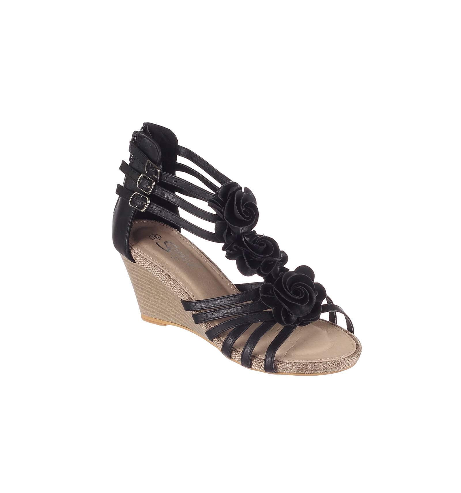 Couleur Noire Compensée Modèle En La Sandale Audrey jLAq34R5