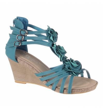 Sandales femme compensées turquoise AUDREY