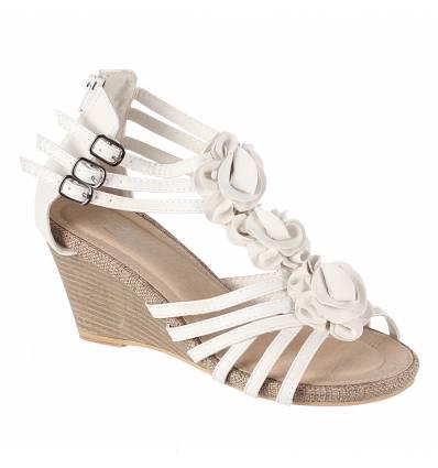 Sandales femme compensées blanc AUDREY