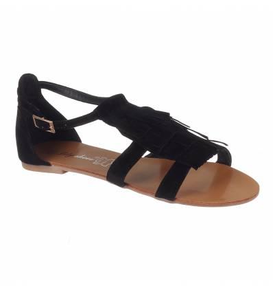 Sandales femme à franges noir Gisèle