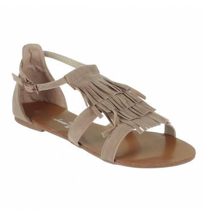 Sandales femme à franges beige Gisèle