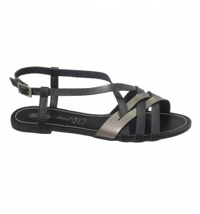 Sandales spartiates femme noir ELISA