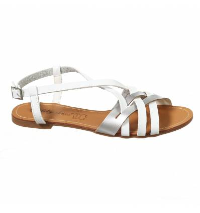 Sandales spartiates femme blanc ELISA