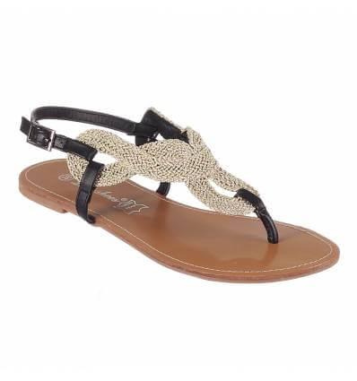 Sandales femme plate simili cuir noir et doré SABRINA