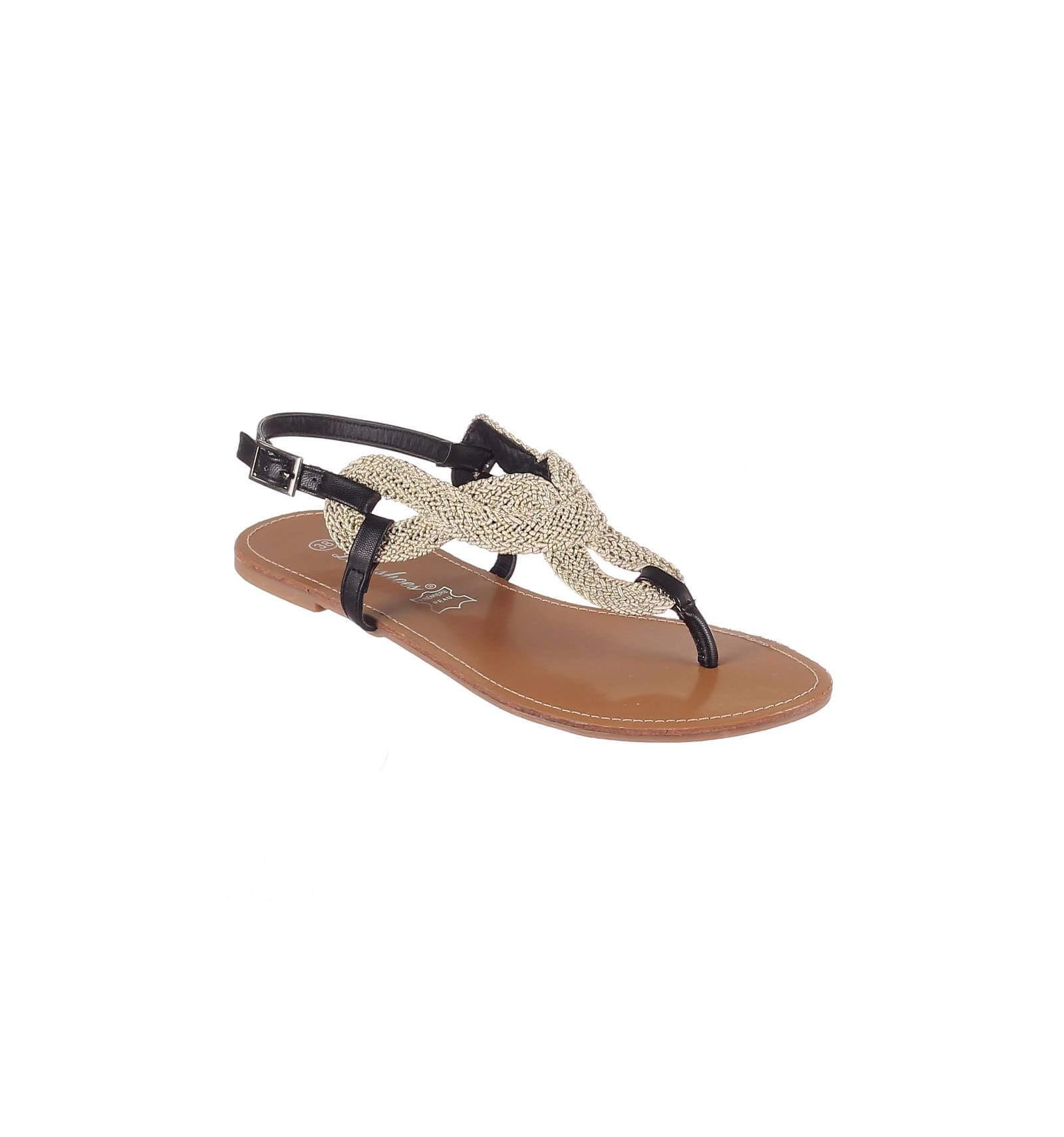 beddca71da7 La sandale plate cuir d  excellente qualité noire et dorée SABRINA