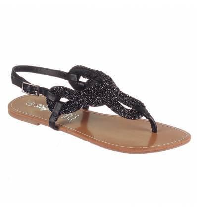 Sandales femme simili cuir noir SABRINA
