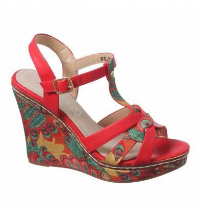 Sandales femme compensé rouge FINA