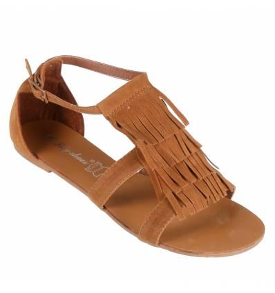 Sandales femme à franges camel Gisèle