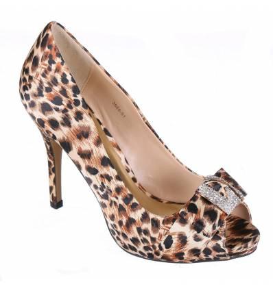 Escarpins femme léopard avec strass NELIA