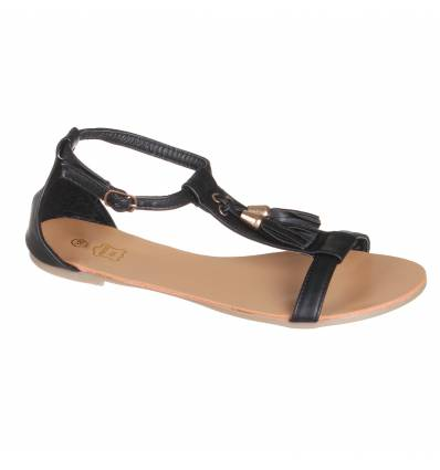 Sandales femme à franges noir JULIANA