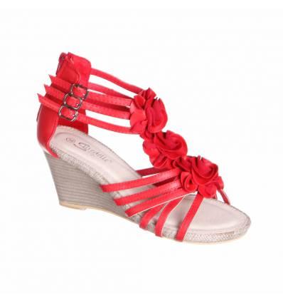 Sandales femme compensées rouge AUDREY