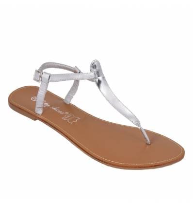 Sandales femme plates argenté vernies IBIZA