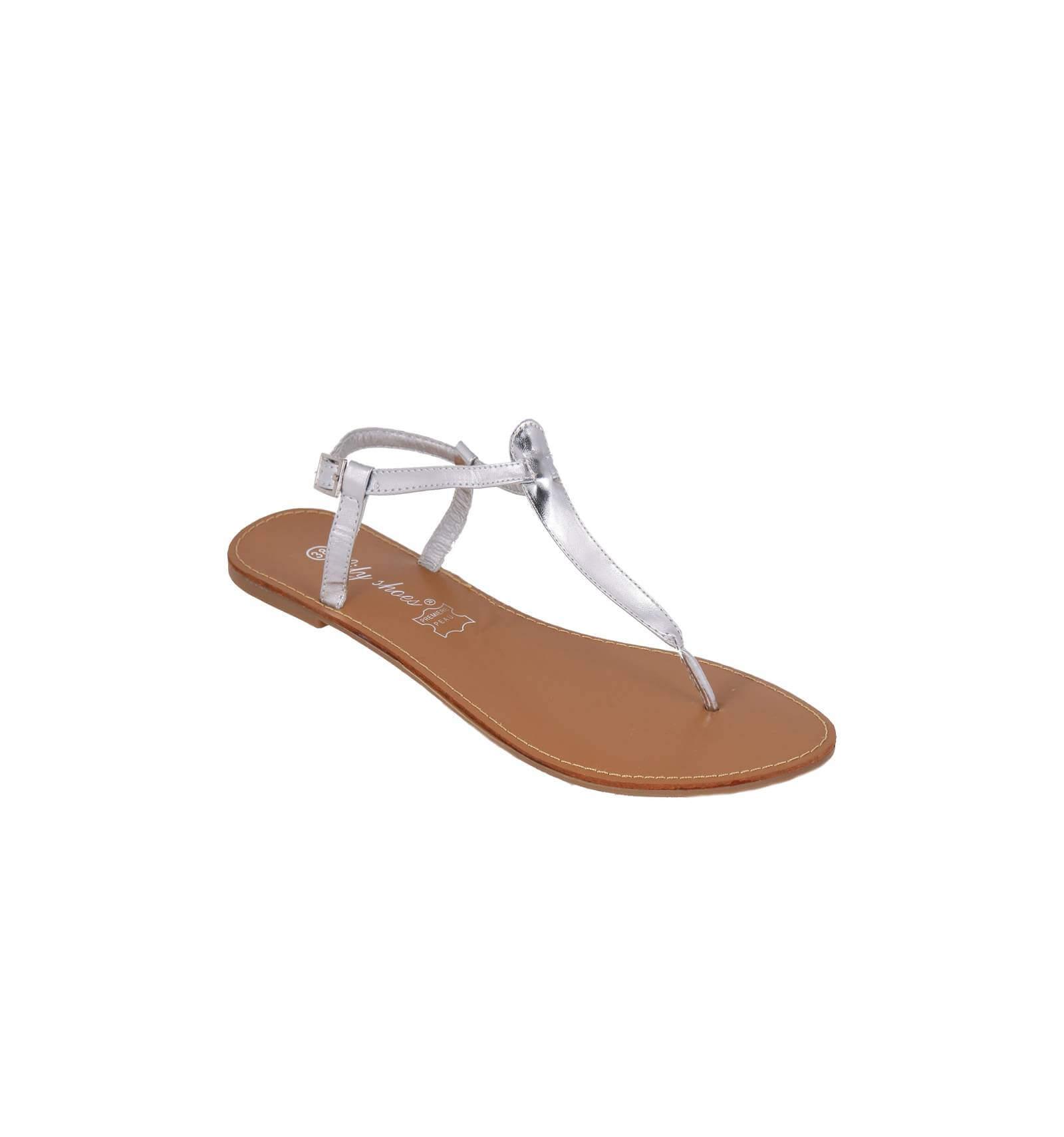 sandales pour femme plates argent es et vernie mod le ibiza. Black Bedroom Furniture Sets. Home Design Ideas