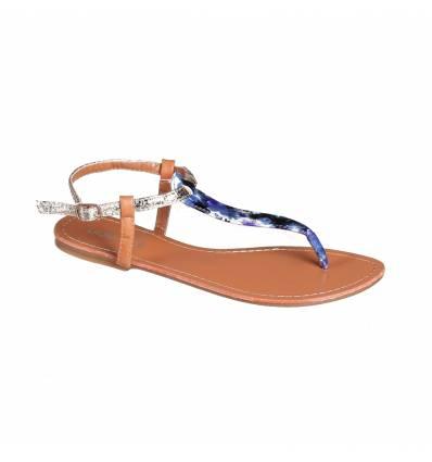 Sandales femme fleurie bleu FLORIDA