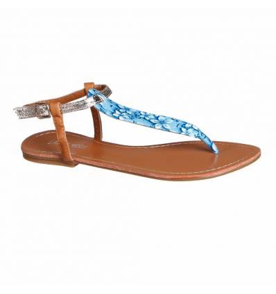 Sandales femme fleurie bleu clair FLORIDA