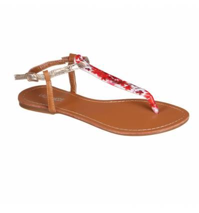 Sandales femme fleurie rouge FLORIDA