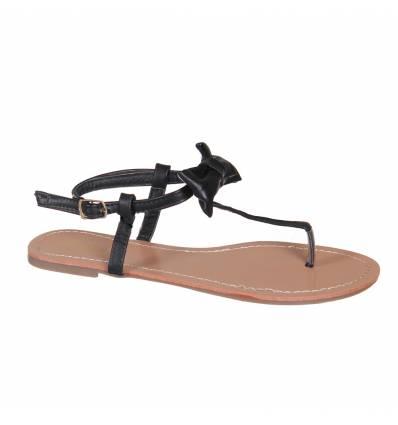 Sandales femme à nœud noir SAMANTHA