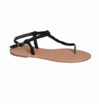 Sandales aspect corde noire IRENA