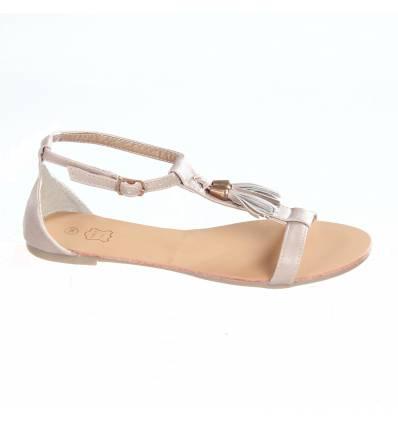 Sandales femme à franges beige JULIANA
