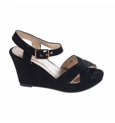 Sandales femme compensée noir Marion
