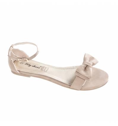 Sandales plates à noeud kaki ANNABELLE