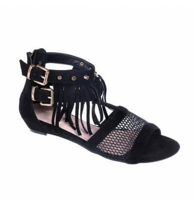 Sandales femme à franges noires LUCIA