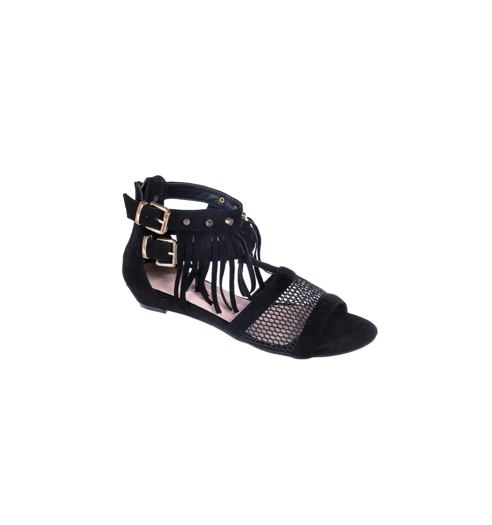 sandale femme simili cuir compens e franges noir lucia. Black Bedroom Furniture Sets. Home Design Ideas