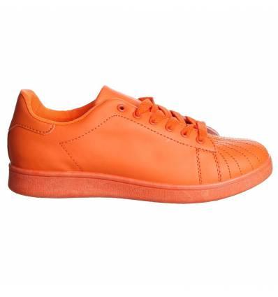 Baskets femme simili cuir orange ALEXANDRA