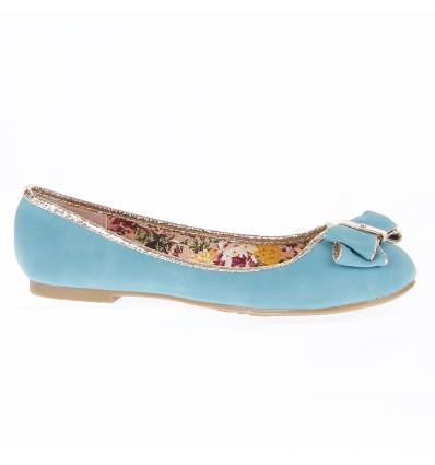 ENOLA turquoise blue faux leather women's flat shoe